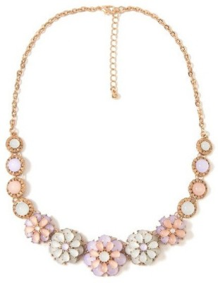 """SENECIOâ""""¢ Floral Collection Cat,s Eye Opal Imitation Stone Luxury Partywear Multicolor Unique Gift 18K Rose Gold Plated Alloy Necklace"""