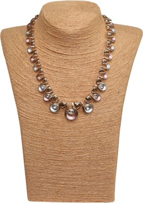 Outdazzle Designer Stone with Earings Metal Necklace Set