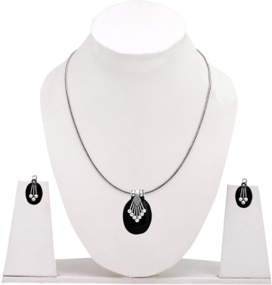 Jaipur Mart Oval Shape Rajasthan Traditional Black Silver Plated Alloy Necklace