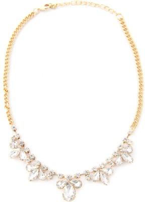 Zahra Jani ZJ Clear Stone Petal Necklace Metal Chain