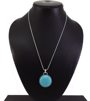 "Senecioâ""¢ ,S Turquoise Color Rhinestone Elegant Statement Silver Plated Alloy Necklace"