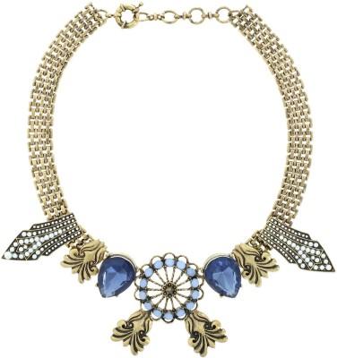 Oomph Blue Crystal Quartz Short Metal Necklace at flipkart