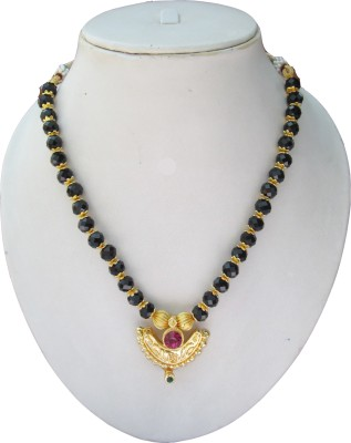 Swapnagandha Jewellery Crystal Yellow Gold Plated Copper, Crystal Necklace
