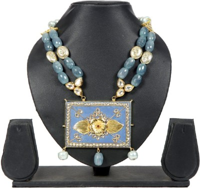 Envy Blueish Grey Cut Beads & Pearls With Diamonds & Huge Pendant Yellow Gold Plated Brass Necklace available at Flipkart for Rs.6850