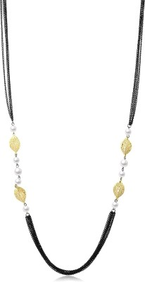 Yellow Chimes Leafs Pearl Latest Metal Necklace at flipkart
