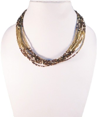 Dg Creations Beads Yellow Gold Plated Glass, Steel Necklace