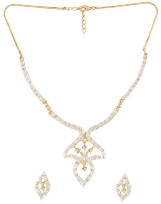DG Jewels Elegant Crystal 24K Yellow Gold Plated Alloy Necklace Set