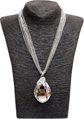 Outdazzle Designer White Stone Metal Necklace