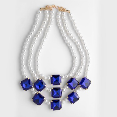 Zahra Jani ZJ Blue Pearl Statement Necklace Metal Chain