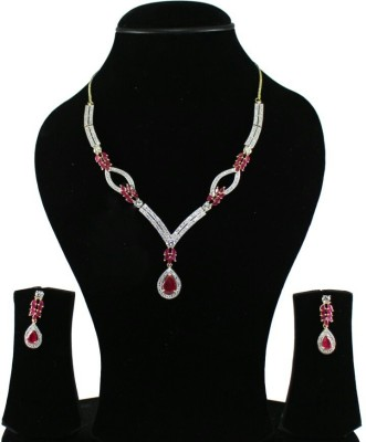 shreejicreations Cubic Zirconia Yellow Gold Plated Alloy Necklace Set
