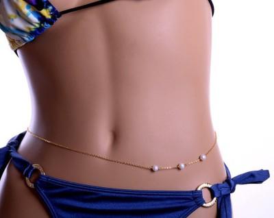 "SENECIOâ""¢ ,S Beautiful Ladies Body Belly Bikini Waist Glass Pearl Beads For Pants Or Saree Beads Yellow Gold Plated Alloy Chain"