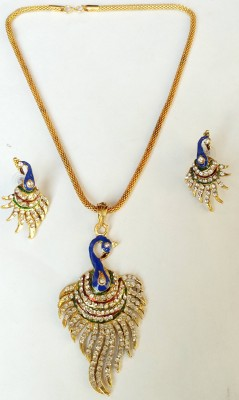 Crystatech Zircon 14K Yellow Gold Plated Alloy, Stone Necklace Set