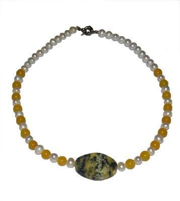 Bird In Blue Memoir - Yellow Agate Stone Necklace