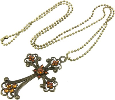 """SENECIOâ""""¢ Floral Cross Champagne Color Rhinestone Studded Long Ball Chain Vintage Look Bronze Alloy Necklace"""