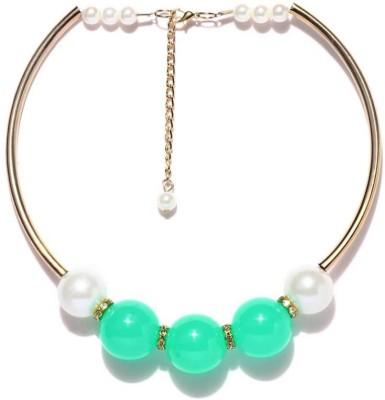 Blissdrizzle Aqua Green Pearl Alloy Necklace