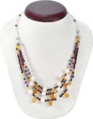 Cosmic 7 Jewellery Chalcedony, Moonstone, Garnet, Crystal Alloy Necklace