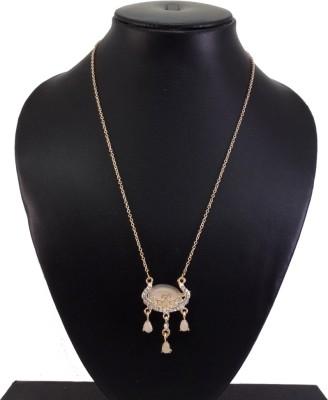 "SENECIOâ""¢ Cute Delicate Longevity Lock Malaysian Royal Vintage Pattern Opal 18K Rose Gold Plated Alloy Necklace"