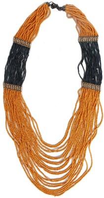Joyeria Milan Orange And Black Beaded Resin Necklace