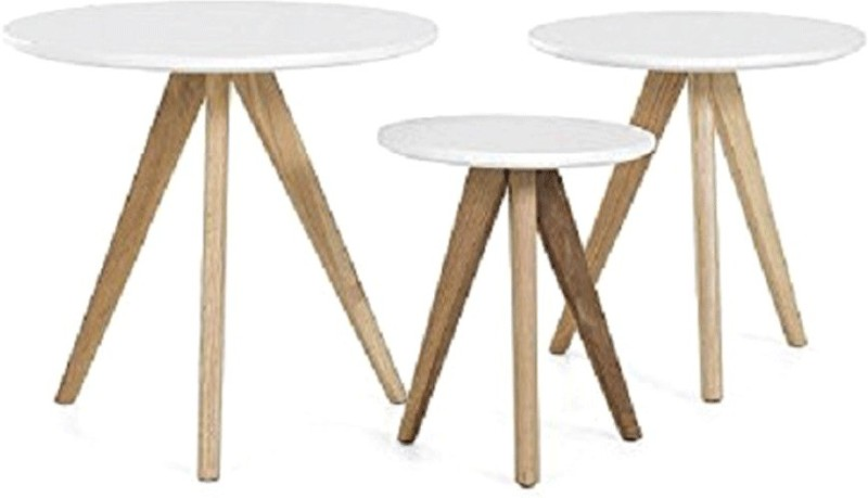 Smarvvv Productions Engineered Wood Nesting Table(Finish Color - White, Set of - 3)