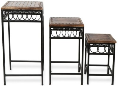 Onlineshoppee Solid Wood Nesting Table(Finish Color - Brown, Set of - 3)