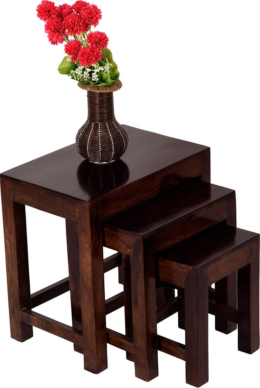 View Wood Dekor Solid Wood Nesting Table(Finish Color - Brown, Set of - 3) Furniture (Wood Dekor)