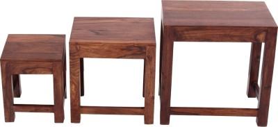 Blueginger Solid Wood Nesting Table(Finish Color - Walnut Brown, Set of - 3)