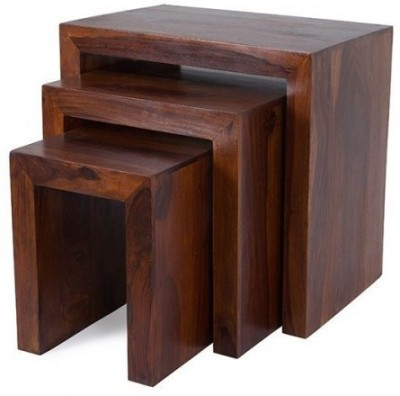 Indian Hub Solid Wood Nesting Table(Finish Color - Brown, Set of - 3)