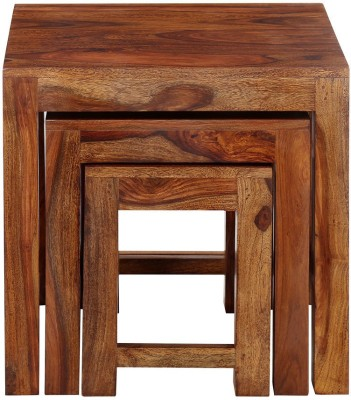 @home by Nilkamal Citrine Solid Wood Nesting Table(Finish Color - Walnut, Set of - 3)