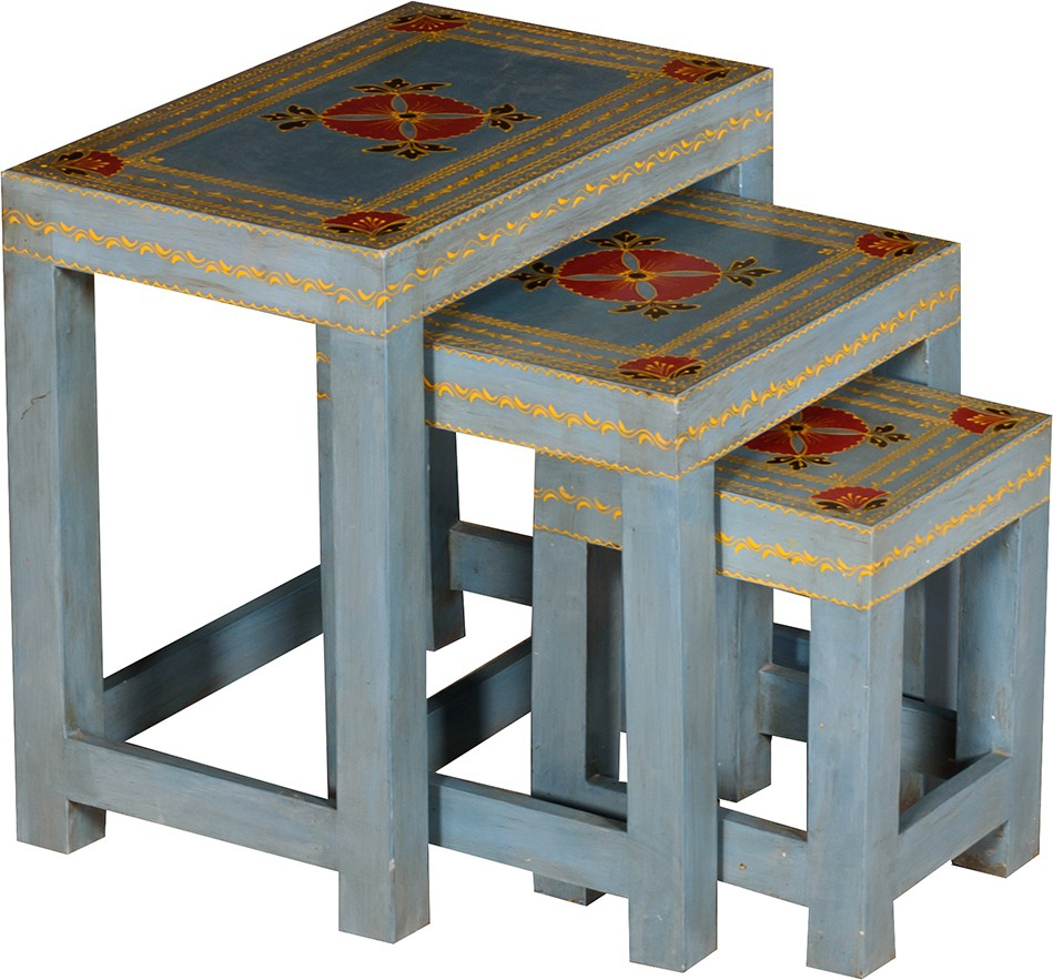 View Handiana Solid Wood Nesting Table(Finish Color - Pale Blue, Set of - 3) Furniture (Handiana)