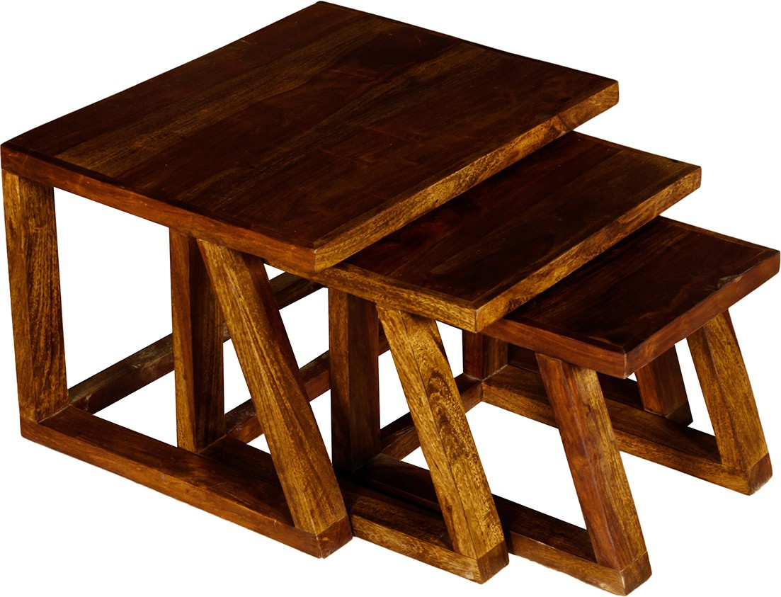 View Handiana Solid Wood Nesting Table(Finish Color - Walnut Brown, Set of - 3) Furniture (Handiana)