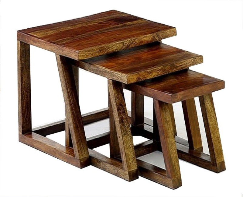 Ringabell Twees Solid Wood Nesting Table(Finish Color - Walnut, Set of - 3)