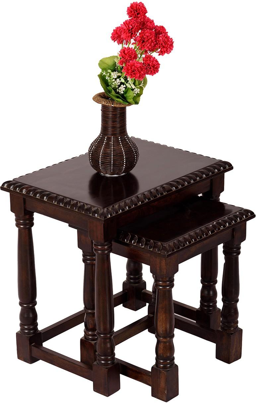View Wood Dekor Solid Wood Nesting Table(Finish Color - Dark Brown, Set of - 2) Furniture (Wood Dekor)