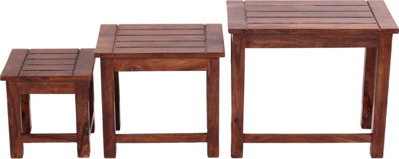 Blueginger Solid Wood Nesting Table(Finish Color - Walnut Brown, Set of - 3)