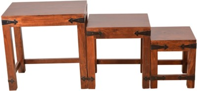 HomeTown Tudor Solid Wood Nesting Table(Finish Color - Brown, Set of - 3)