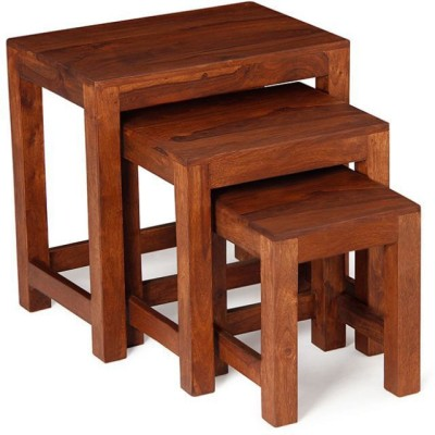 Kings Crafts Solid Wood Nesting Table(Finish Color - Brown, Set of - 3)