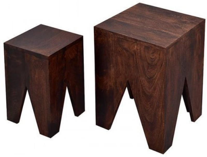 Indian Hub Solid Wood Nesting Table(Finish Color - Brown, Set of - 2)