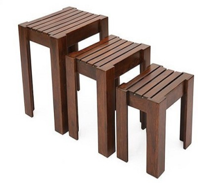 Ringabell Mexican Solid Wood Nesting Table(Finish Color - Mahogany & Teak, Set of - 3)