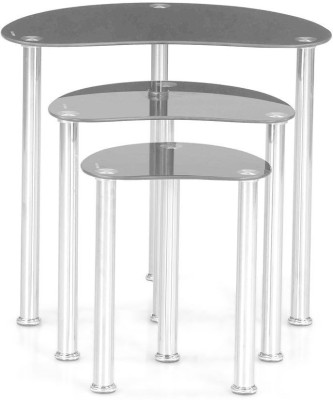 @home by Nilkamal Onyx Glass Nesting Table