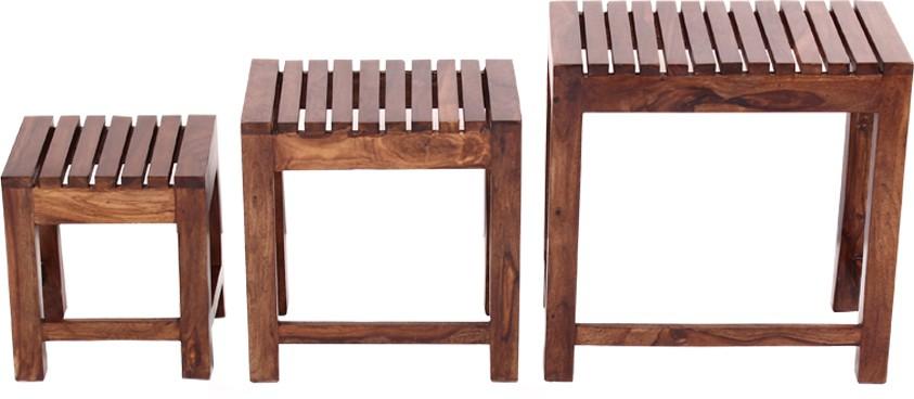 View Blueginger Solid Wood Nesting Table(Finish Color - Walnut Brown, Set of - 3) Furniture (Blueginger)