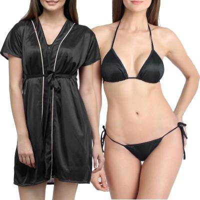 You Forever Women's Robe(Black) at flipkart