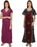 Simrit Women's Nighty (Purple, Maroon)