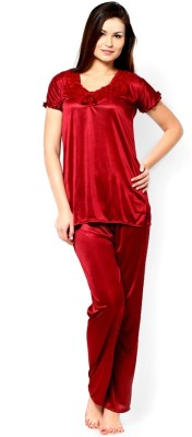 Christy World Women's Solid Red Top & Pyjama Set