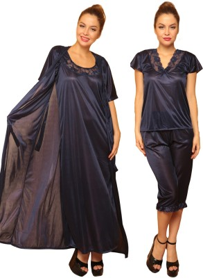 Clovia Women's Nighty with Robe, Top and Capri(Blue) at flipkart