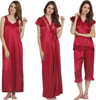 kem Flow Gold Women's Nighty with Robe, Top and Capri
