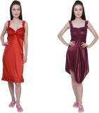 Simrit Women's Nighty (Red, Purple)