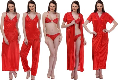 Glamcouture Women's Nighty with Robe, Top and Capri