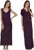 Miavii Women's Nighty with Robe (Purple)