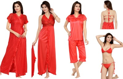 Bombshell Women's Nighty with Robe, Top and Capri(Red) at flipkart