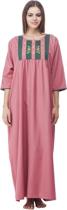 VedVid Women's Nighty(Pink)