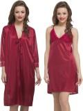 Clovia Women's Nighty with Robe (Maroon)